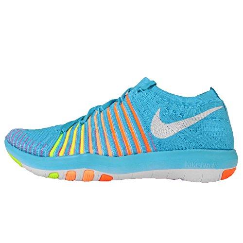 Nike  Wm Free Transform Flyknit, Sneakers femme Bleu - Azul (Gmm Bl / White-Ttl Orng-Pch Crm)