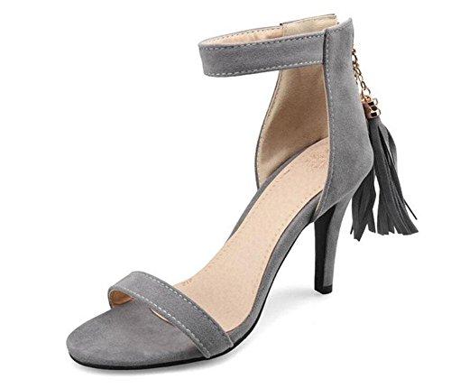 SHINIK Lady Pumps Tassel Open-Toed Sandales à talons hauts Fine Suede Shoes Court Shoes Grey