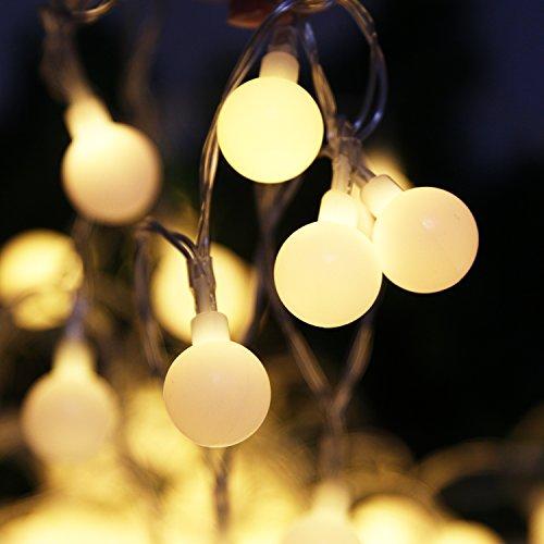 Garten, 7 Meter 50 LED Glühbirne Lichterkette Außen, 8 Modi Batteriebetriebene, Wasserdichte Ball-Leuchten, Perfekt für Party Garden Christmas Outdoor (Warmweiß) ()