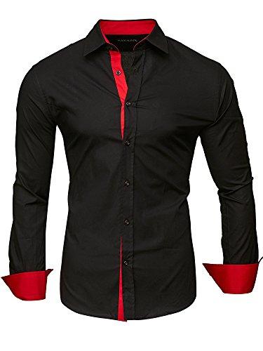Kayhan herren hemd, twoface schwarz/Ärmel rot l