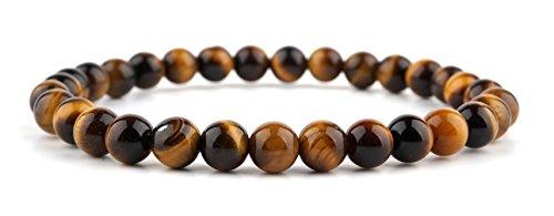 GOOD.designs Chakra Perlen-Armband aus Tigeraugen-Natursteinen, Energiearmband aus Halbedelstein Tigerperlen (6 mm)
