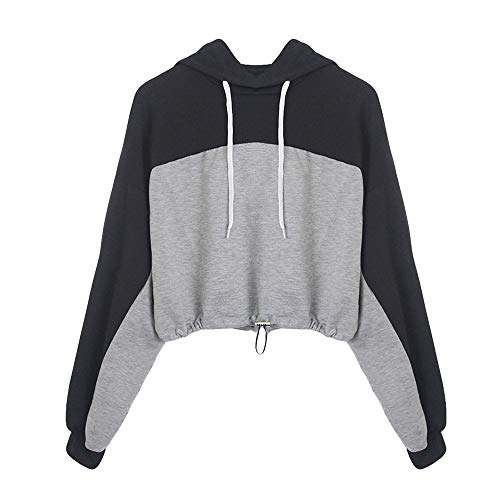 Xmiral Sweatshirt Hoodie Pullover Damen Langarm Spleißen O Hals Lässige Zipper Bluse (XL,Schwarz) -