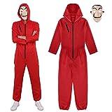 IEFIEL Disfraz de Ladrón Unisex Adulto Costume Mono Body Romper Jumpsuit para Halloween Cosplay Carnaval Rojo XL