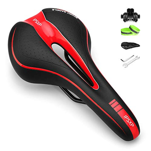 IPSXP Asiento de Bicicleta, Sillín de Asiento de Bicicleta de Gel, Cómodo Acolchado de Espuma de Memoria con los Resortes, Cojín de Silicona de Bici/MTB Respirable Bike Seat Saddle (Negro + Rojo)