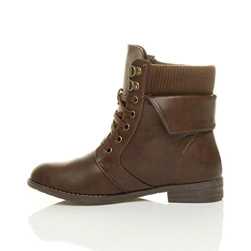 Damen Schnüren Reißverschluss Strickkragen Biker Worker Boots Stiefel Schuhe Militär Stiefeletten Größe Braun