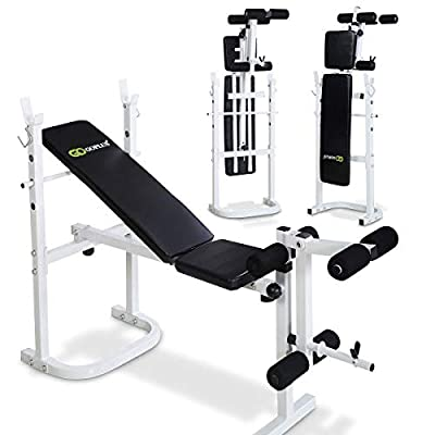 COSTWAY Folding Weight Bench, Dumbbell/Barbell Training Bench, Incline, Flat and Decline Bench for Sit up Workout, Whole Body Exercise, Multi Home Gym Equipment by COSTWAY