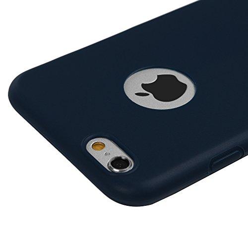 Badalink Coque iPhone 6Plus 6SPlus, Case Housse Étui Bumper Coque TPU Silicone Gel Mat Souple Flexible Ultra Mince Slim Léger Anti Rayure Antichoc Housse Étui iPhone 6Plus 6SPlus Coque Bleu + Film de  Bleu