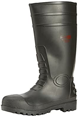 New Mens/Gents/Unisex Black Steel Toe Caps Safety Wellington Boots. - Black - UK SIZE 3