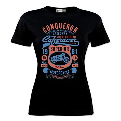Conqueror Speedway Racing Motorcycle Chopper Motocross Racer Bike Biker Motorrad Woman Damen T-Shirt (XL, Schwarz)