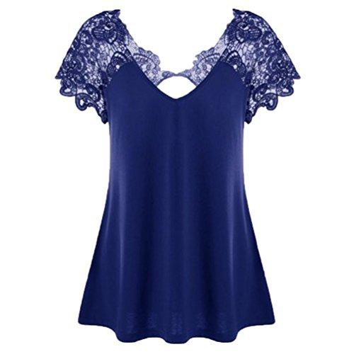 Byste donna camicia blusa maglia v-collo pizzo giuntura manica corta casual hollow out maglietta t-shirt camicetta trim cutwork tops (blu, xxxl)