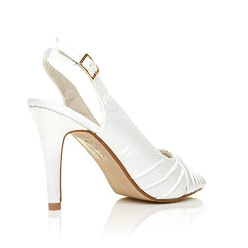 ShuWish UK - Escarpin Femme CHLOE Satin Talon Haut Stiletto Bride à l'Arrière du Pied Mariée Bout Ouvert - Blanc Satin Blanc