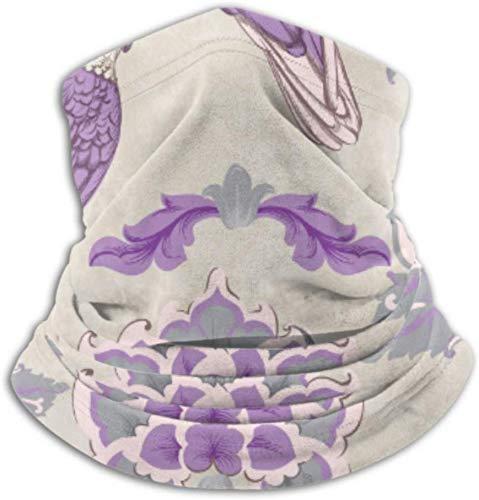 Fleece Neck Warmer ,Multifunctional Vintage Damask Parrot Old Scarf,a Full Face Mask Or Hat, Neck Gaiter, Neck Cap ,ski Mask, Half Mask,face Mask, B Vogue 1724