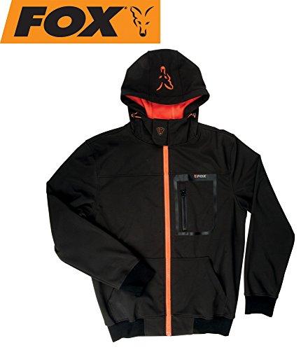 Fox Black / Orange Softshell Hoodie Angeljacke, Anglerjacke, Softshelljacke, wasserdicht & atmungsaktiv, Jacke für Angler, Größe:L
