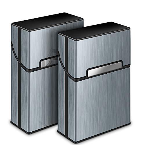 Zigarettenetui, Yosemy 2 Stück Zigarettenbox Metall mit Magnetverschluss, Zigarettenetui aus Alu, Verstärktem Kunststoffgehäuse & Einrast Funktion Für 20er Standard Schachteln (Grau) -
