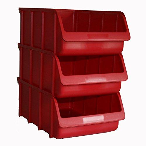 3x Profi Sichtboxen PP Größe 5 rot NEU Stapelbox Sicht-Lagerbox Boxen Sichtbox
