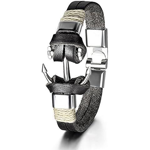 Jewelrywe Liga de cuero brazalete cable Marrón Plata Ancla Barco motorista Negro Hombre