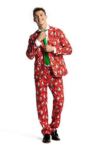 U LOOK UGLY TODAY Halloween Anzüge Herren Anzug Party Weihnachts Kostüm Modisch Festliche Party Suits Bunt Druck mit Jackett Hose Krawatte