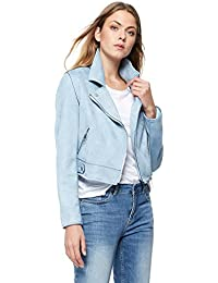 Debenhams Red Herring Womens Pale Blue Suedette Biker Jacket