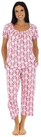 bSoft Womens Viscose Bamboo Nightwear Short Sleeve Capri Bottoms with Pockets Cropped Pyjama Set PJ (BSBJ1830-1017-UK-LRG)