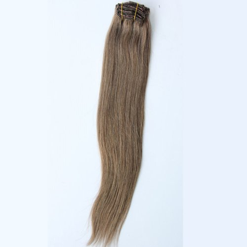 GoGoDiva Clip in Hair Extensions 100% Human Remy Hair #10 Ash Brown colour 15 inches Length 90 grams hair weight
