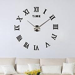Idea Regalo - Yosoo DIY gigante orologio da parete 3d specchio acrilico Superficie adesivi da parete, decorazione soggiorno orologio – Arredamento unico regalo, nero
