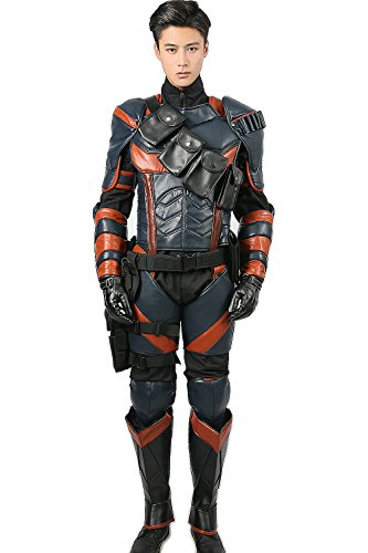 Deluxe Supervillain Armour Cosplay Kostüm PU Fighter Outfit mit Helm für Herren Halloween Verrückte Kleid Merchandise