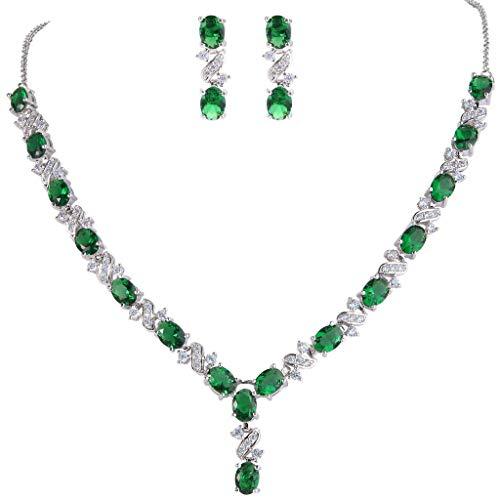 Clearine Damen Elegant Delicate Cubic Zirconia Unendlichkeit Y-Form Halskette Dangle Ohrringe Set Smaragd-Farbe