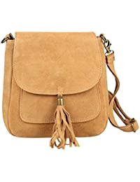 04a54d1fbb855 Made in Italy Damen Leder Tasche Messenger Bag Henkeltasche Wildleder  Handtasche Umhängetasche Ledertasche Schultertasche…