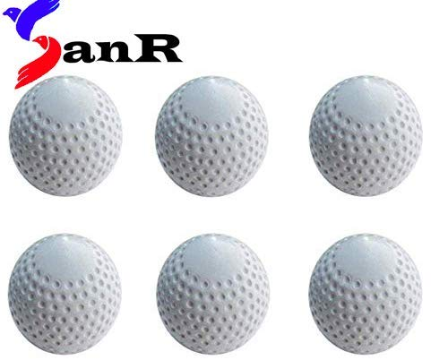 SanR White Pu Turf Ball,Hockey Ball & Cricket Practice Ball Pack of 6(Size 2.8 to 2.96 Inch,Weight 156 to 163 Grm)