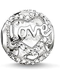 Thomas Sabo Femmes-Bead Heart Of Love Karma Beads Argent Sterling 925 Pavé d'Oxydes de Zirconium blancs K0177-051-14