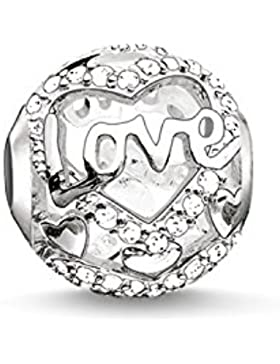 Thomas Sabo Damen-Bead Herz Liebe Karma Beads 925 Sterling Silber Zirkonia  weiß K0177-051-14