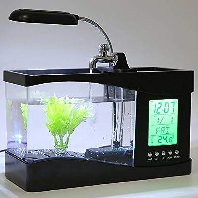 Erduo Neue USB Desktop Mini Aquarium Aquarium LCD Timer Clock LED Lampe Licht schwarz Worldwide Store - schwarz