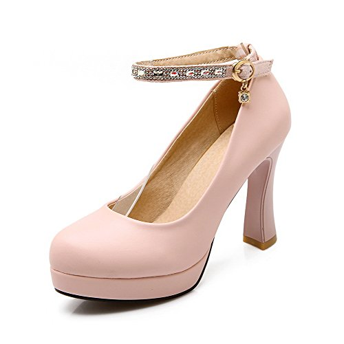 4c4e4e04ad815a AllhqFashion Damen Rund Zehe Schnalle Pu Rein Hoher Absatz Pumps Schuhe Pink