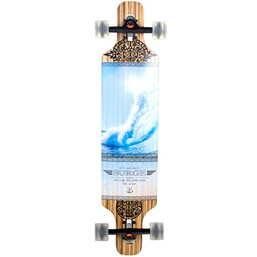 Longboard Surge Carver Drop Through 106 cm Freeride Skateboard Cruiser , Farbe:Blue Wave - Bambus-longboard Skateboard