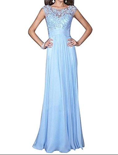 P&XiaoZhong Sexy Hellblau Lace Stitching Chiffon Langes Kleid Kleid Abend Abendkleid Light Blue