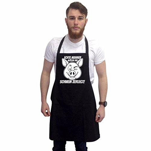 Schwarz Witz Kostüm - Lustige Grillschürze Neuheit Grillen Kochen Geschenke für Herren Echte Männer Mögen Ihr Schwein Zerlegt Schwarz Einheitsgröße