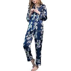 Dolamen Femme Pyjamas Satin, 2018 Des couples Chemises de nuit Femmes, Femmes Ensemble de Pyjama, Luxe & Lingerie Chemise à carreaux Avec poche chemise de nuit Longue (Large, Bleu)
