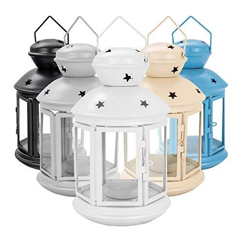 Nicola Spring Kerze Laternen Teelichthalter Vintage-Metall-Hang Indoor Outdoor - 20 cm - Weiß -