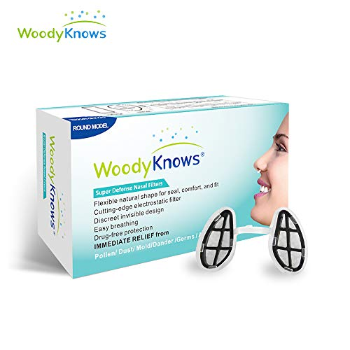 WoodyKnows Super Defense Nasenfilter, Allergieentlastung, Blockierte Allergene, Pollen, Staub, Dander, und Schimmelpilzallergene, Airborne Air Pollution - Allergie Sinus Medizin