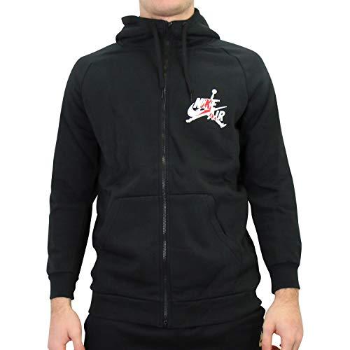 Nike M J Jumpman Classic FZ Long Sleeve Top, Herren L Schwarz/Gym-rot/Weiß