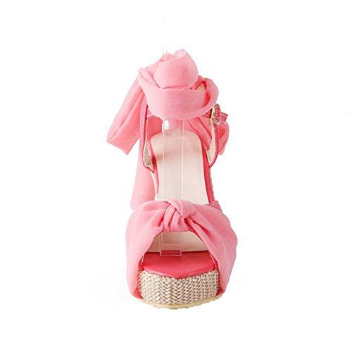 AalarDom Damen Offener Zehe Hoher Absatz Weiches Material Rein Schnalle Sandalen Pink