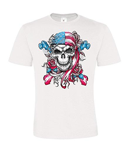 DarkArt-Designs Americana Skull Bandana - Piraten Totenkopf T-Shirt für Kinder und Erwachsene - Schädelmotiv Shirt USA Flagge Party&Freizeit Lifestyle regular fit, Größe M, weiß
