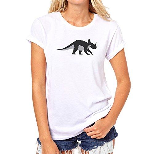 Dinosaur Black Grey Horn Walking Damen T-Shirt Weiß