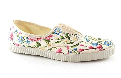 CIENTA 55023 35/36 beige elastischen Stoff Blumenmädchen Schuhe Multicolore