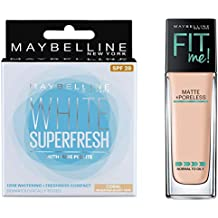 Maybelline New York White Super Fresh Compact, Coral, 8g+Maybelline New York Fit Me Matte with Poreless Foundation, 115 Ivory, 30ml