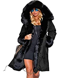Aofur Manteau Femme Chaud Parka Hiver Fourrure avec Capuche Militaire Style  Manteaux d hiver Parka d06ae3a7bc9