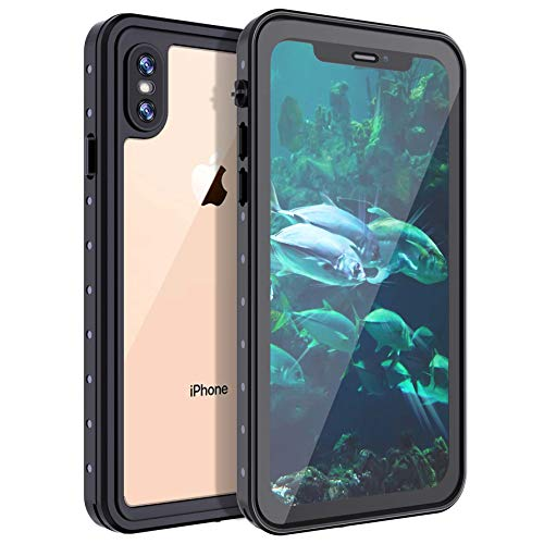 "Casetego Compatible iPhone XS Max Wasserdichte Hülle,Underwater Cover Full Body Protective Snowproof Dirtproof Shockproof IP68 Certified Wasserdichte Hülle for Apple iPhone XS Max 6.5"",Black/Clear"