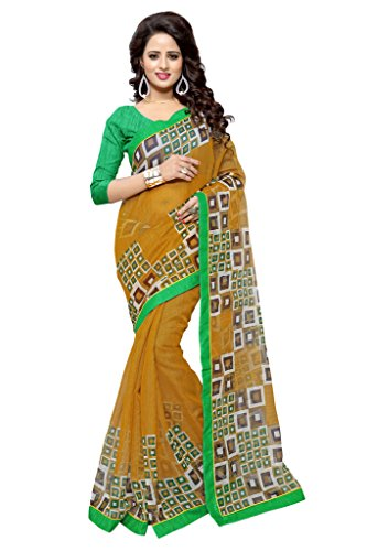 SOURBH Women's Art Silk (Super Net) Geometric Printed Saree (2360_Yellow,Green)  available at amazon for Rs.695
