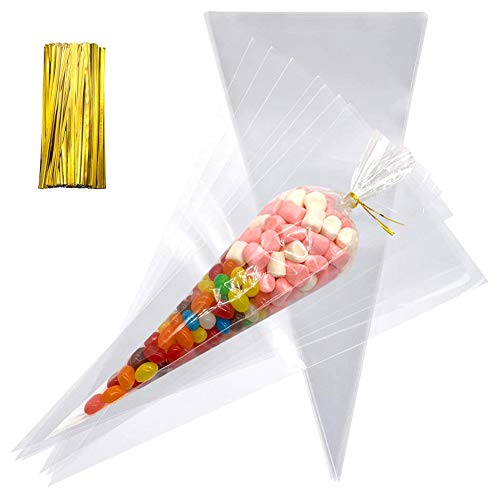 Clear Cone Shaped Polypropylene Cello Treat Bags - 200 Pack OPP Plastic Bags with Gold Twist Ties Perfect for Party Favor Christmas Candy Popcorn