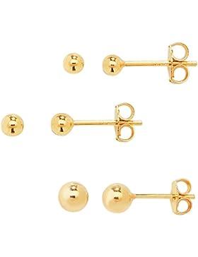 DTPsilver - Damen - Ohrringe 925 Sterling Silber Gelb Vergoldet - Kugel Set Paare 3 Ohrstecker 3 mm, 4 mm, 5 mm